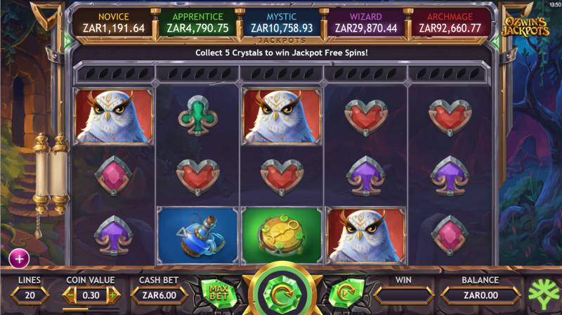 Ozwin's Jackpot is a Five Progressive Jackpot Slot Game