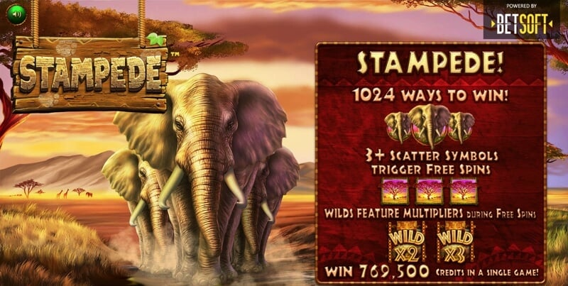 Stampede is a New African Savanah Themed Slot from Betsoft