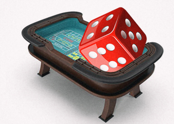 craps table with dice
