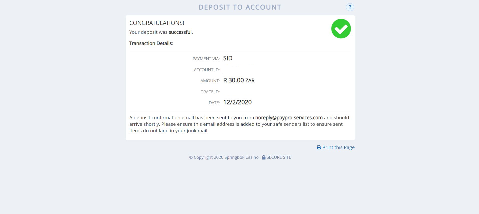 SiD proof of payment